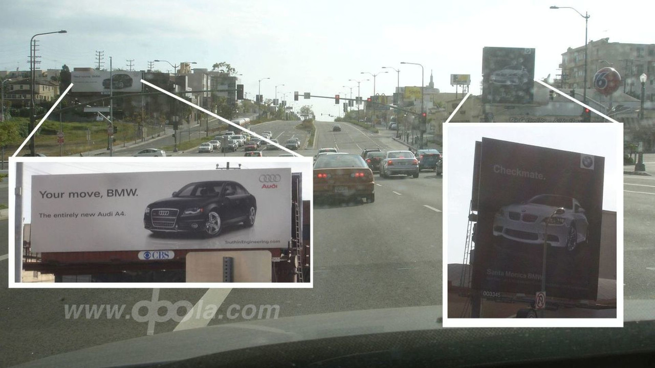 BMW and Audi feuding billboards on Santa Monica Blvd.