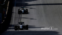 Valtteri Bottas, Williams FW38, leads Lewis Hamilton, Mercedes F1 W07 Hybrid