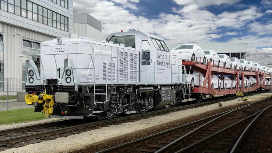 Audi reveals their new Alstom hybrid locomotive for Ingolstadt factory