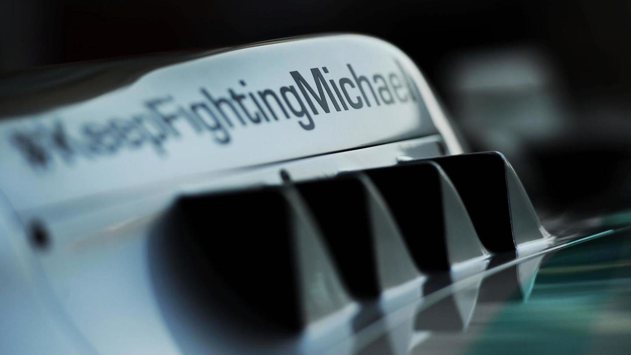 Mercedes AMG F1 W05 with a message of support for Michael Schumacher (GER) / XPB