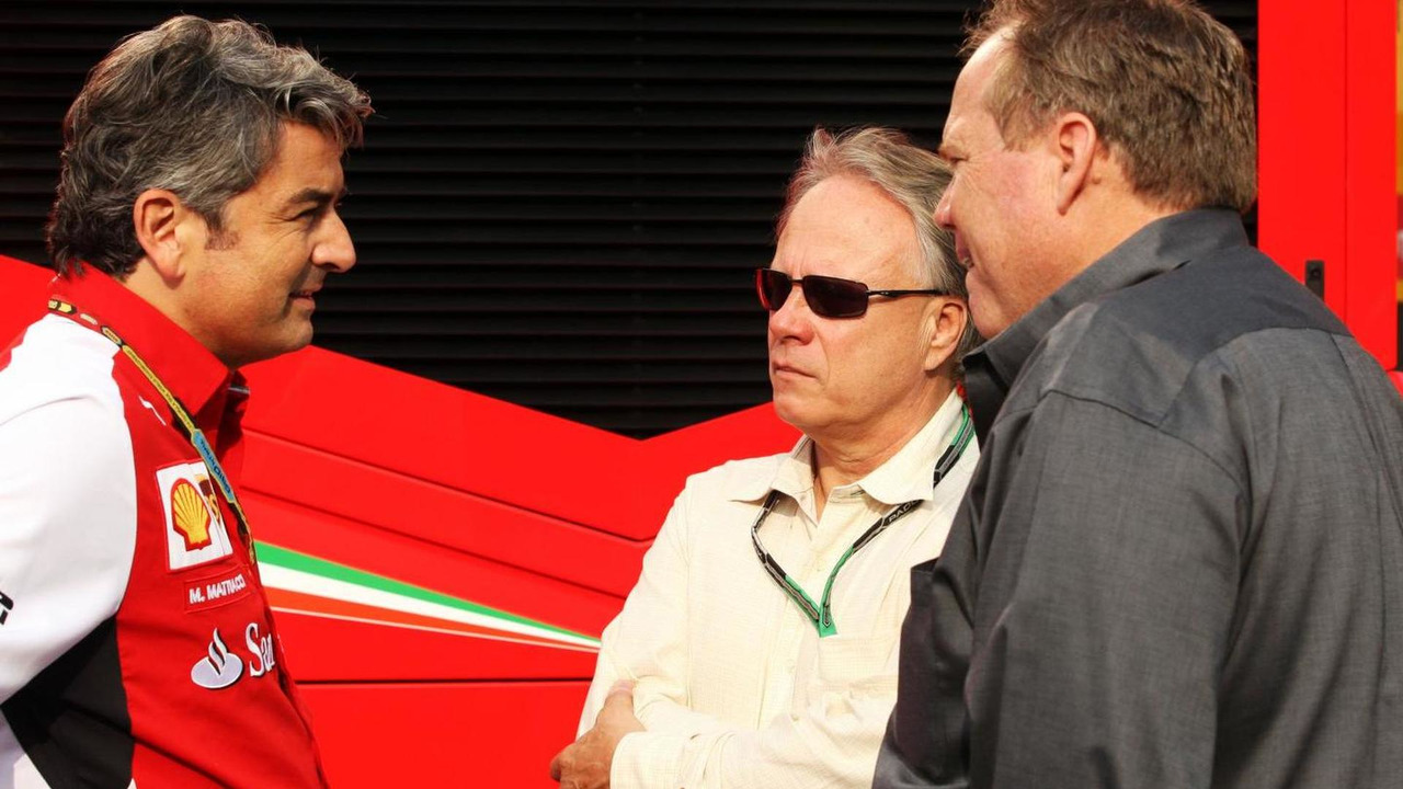 Marco Mattiacci (ITA) with Gene Haas (USA), Haas Automotion President, and Joe Custer (USA), Stewart Haas Racing Vice President / XPB