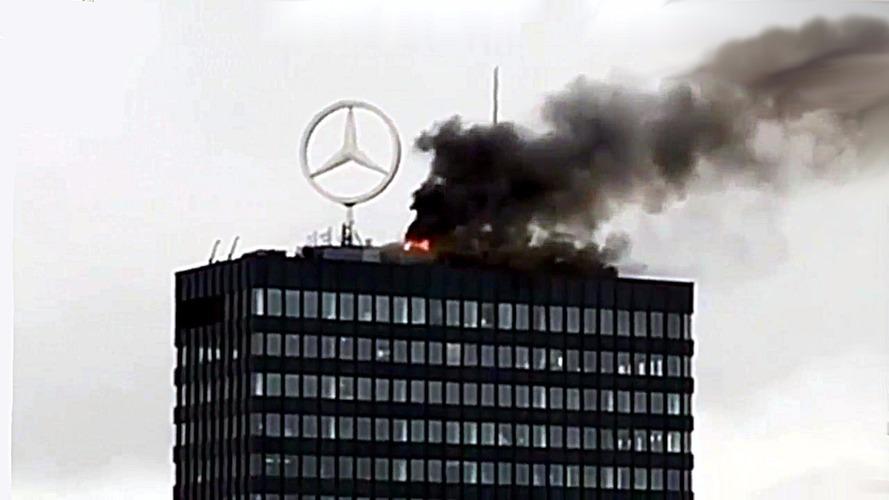 Iconic Berlin Mercedes-Benz emblem in fire drama