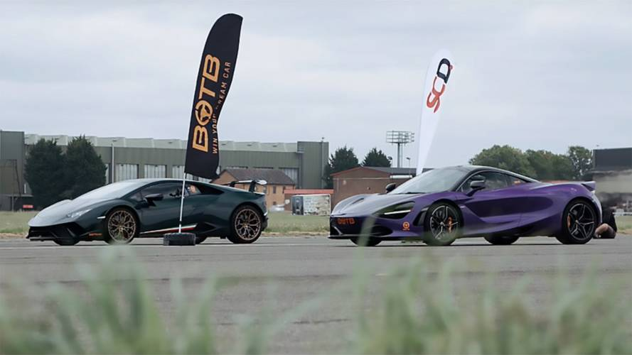 McLaren 720S with 710bhp drag races 630bhp Lamborghini Huracan