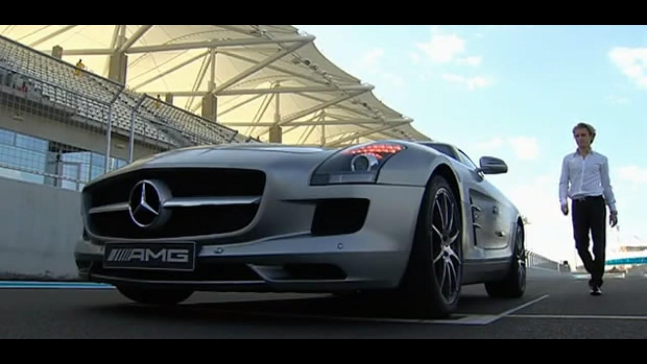 VÍDEO: Nico Rosberg pilotando a nova Mercedes SLS em Abu Dhabi
