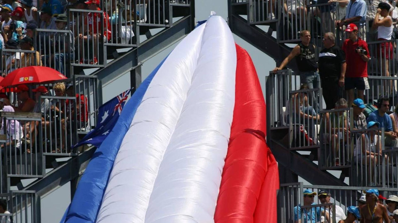 An inflatable French flag at turn 17 - Formula 1 World Championship, Rd 11, French Grand Prix, 15.07.2006 Magny Cours, France