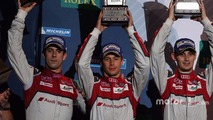 Podium: second place Lucas di Grassi, Loic Duval, Oliver Jarvis, Audi Sport Team Joest