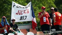 A banner in tribute to Jules Bianchi