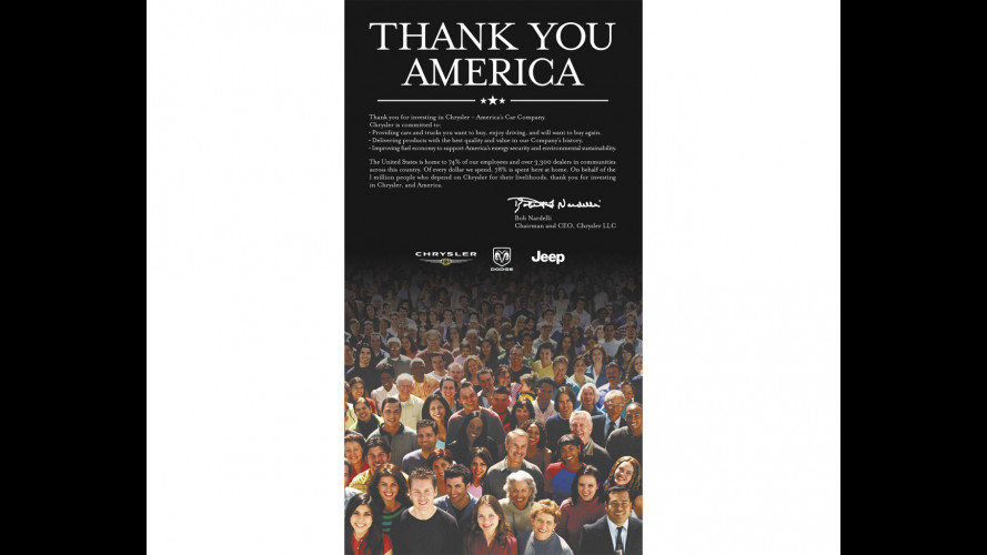 Chrysler ringrazia gli americani