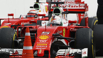 Sebastian Vettel, Ferrari SF16-H and team mate Kimi Raikkonen, Ferrari SF16-H in parc ferme