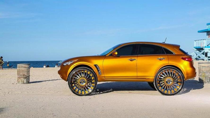 Gold-wrapped Infiniti FX gains massive 32-inch Forgiato wheels