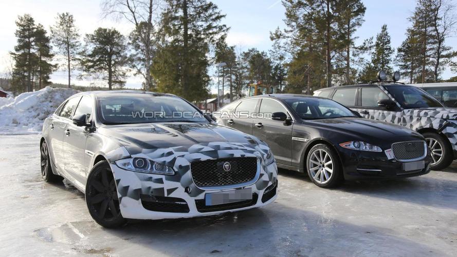 2015 Jaguar XJ spied next to the current model