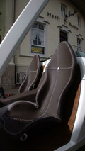 F-CELL Roadster carbon-fiber bucket seats with hand-stiched leather covers