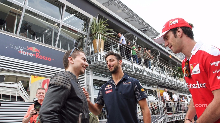 (L to R): Jorge Lorenzo, Moto GP Rider with Daniel Ricciardo, Red Bull Racing and Jean-Eric Vergne, Ferrari Test and Development Driver