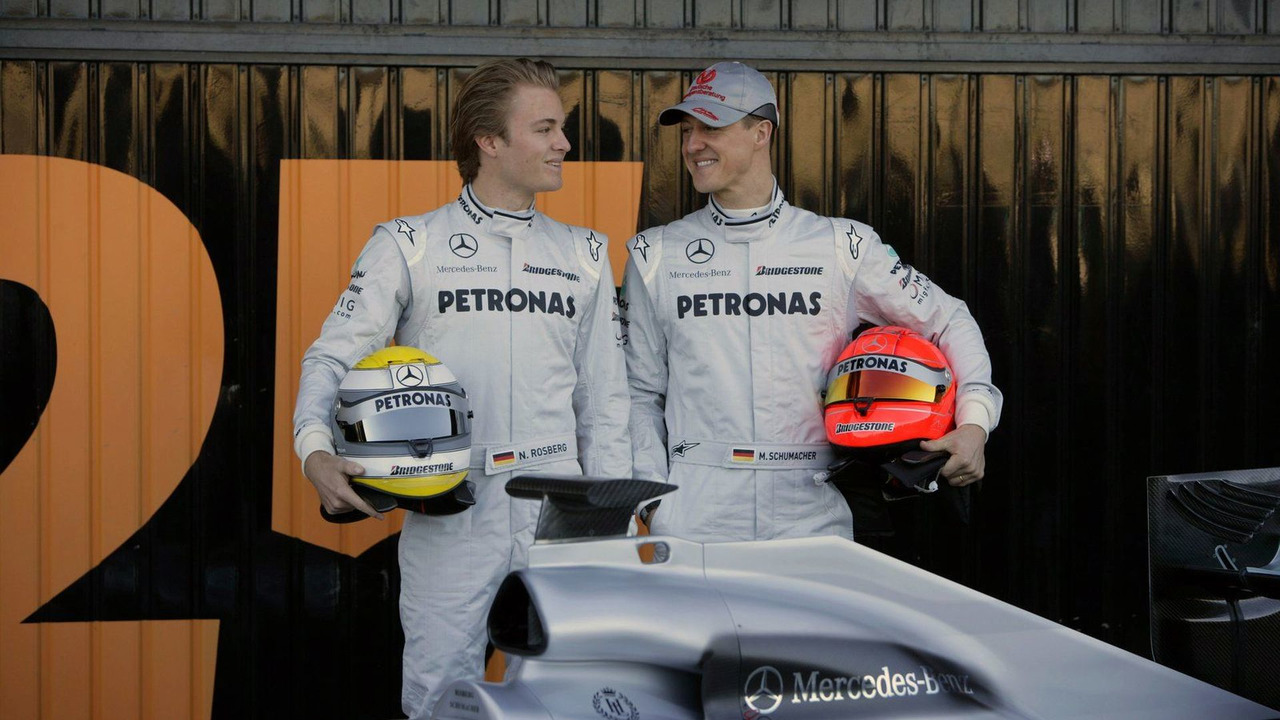 Mercedes GP W01 car launch, Michael Schumacher (GER), Nico Rosberg (GER), Valencia, Spain, 01.02.2010