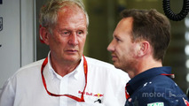 Dr Helmut Marko, Red Bull Motorsport Consultant with Christian Horner, Red Bull Racing Team Principal
