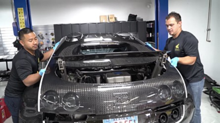 Changing Fluids On Bugatti Veyron Is Not For The Faint Of Heart