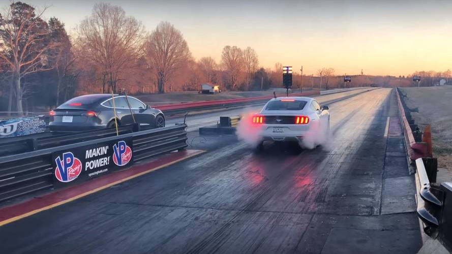 Tesla Model 3 Smokes Ford Mustang In Drag Race