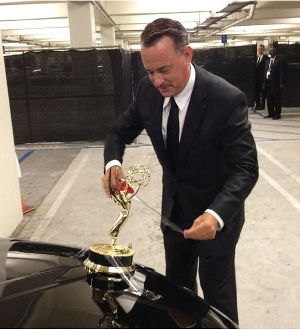 Tom Hanks tapes Emmy to Town Car, hilarity ensues