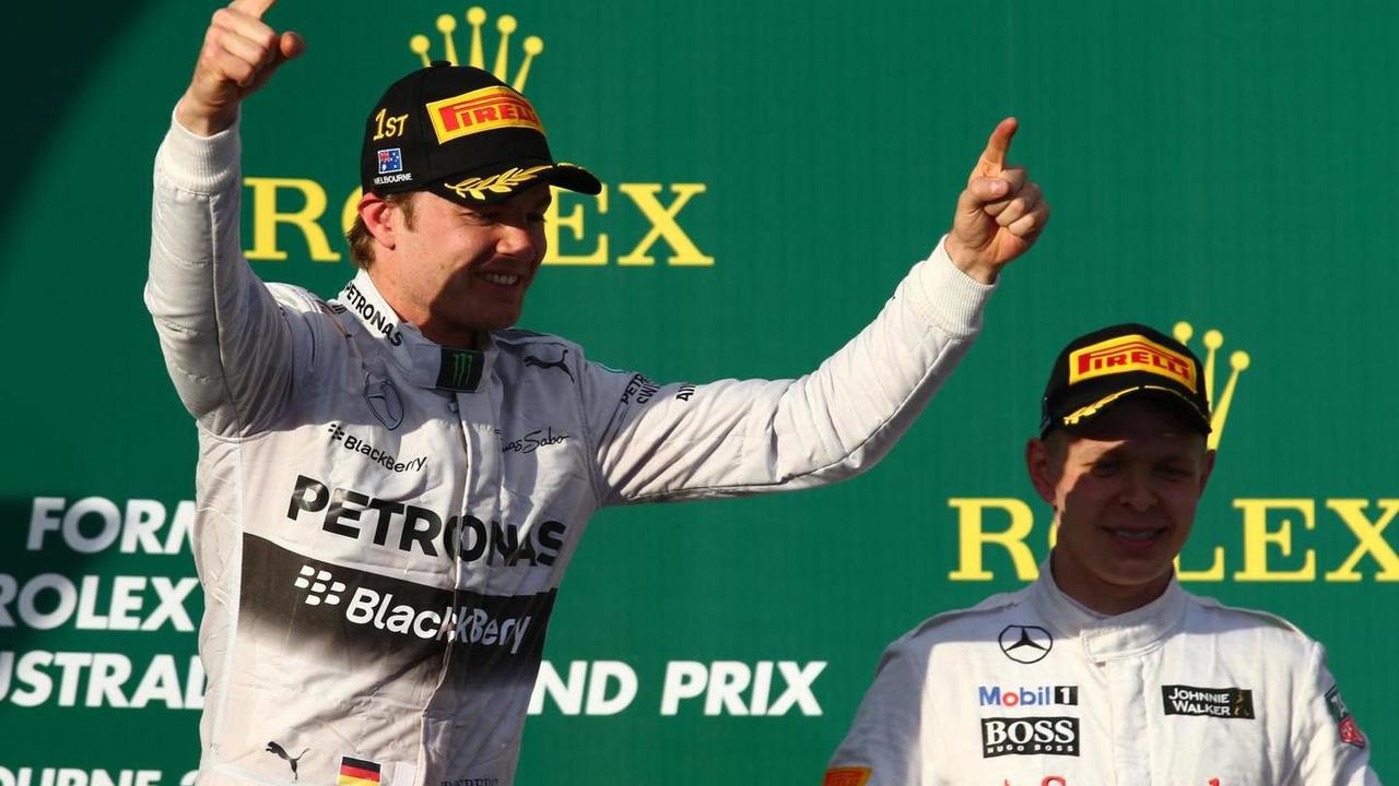 Nico Rosberg celebrates winning 2014 Asutralian Grand Prix