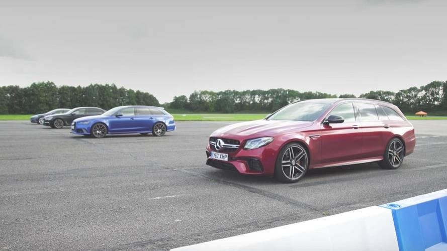 Mercedes E63, Audi RS6 Take On BMW M760Li, Tesla In Drag Race