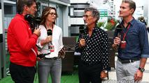 (L to R): Graeme Lowdon, Manor F1 Team Chief Executive Officer with Suzi Perry, BBC F1 Presenter; Eddie Jordan, BBC Television Pundit; and David Coulthard, Red Bull Racing and Scuderia Toro Advisor / BBC Television Commentator