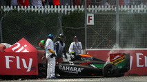 Sergio Perez (MEX) crashed out on the final lap of the race, 08.06.2014, Canadian Grand Prix, Montreal / XPB