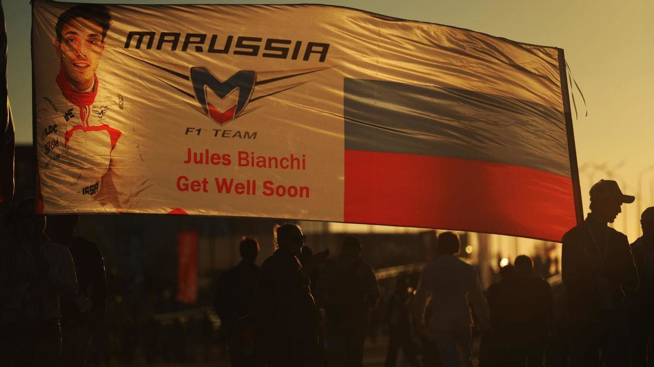 A get well banner for Jules Bianchi (FRA) / XPB
