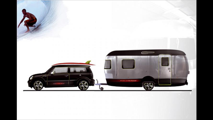 Mini Clubman und edler Wohnwagen im schicken Surflook