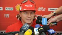 Kimi Raikkonen talks to the press ahead of the Brazilian Grand Prix