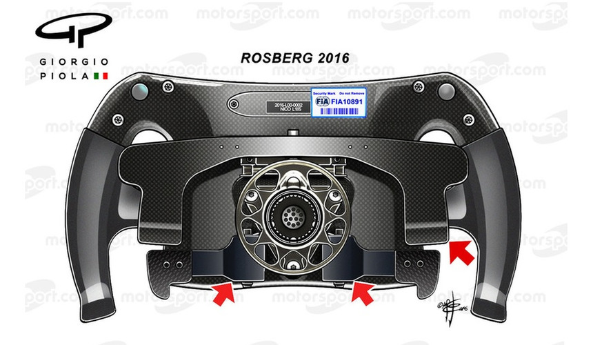 Rosberg's 2016 steering wheel, back view