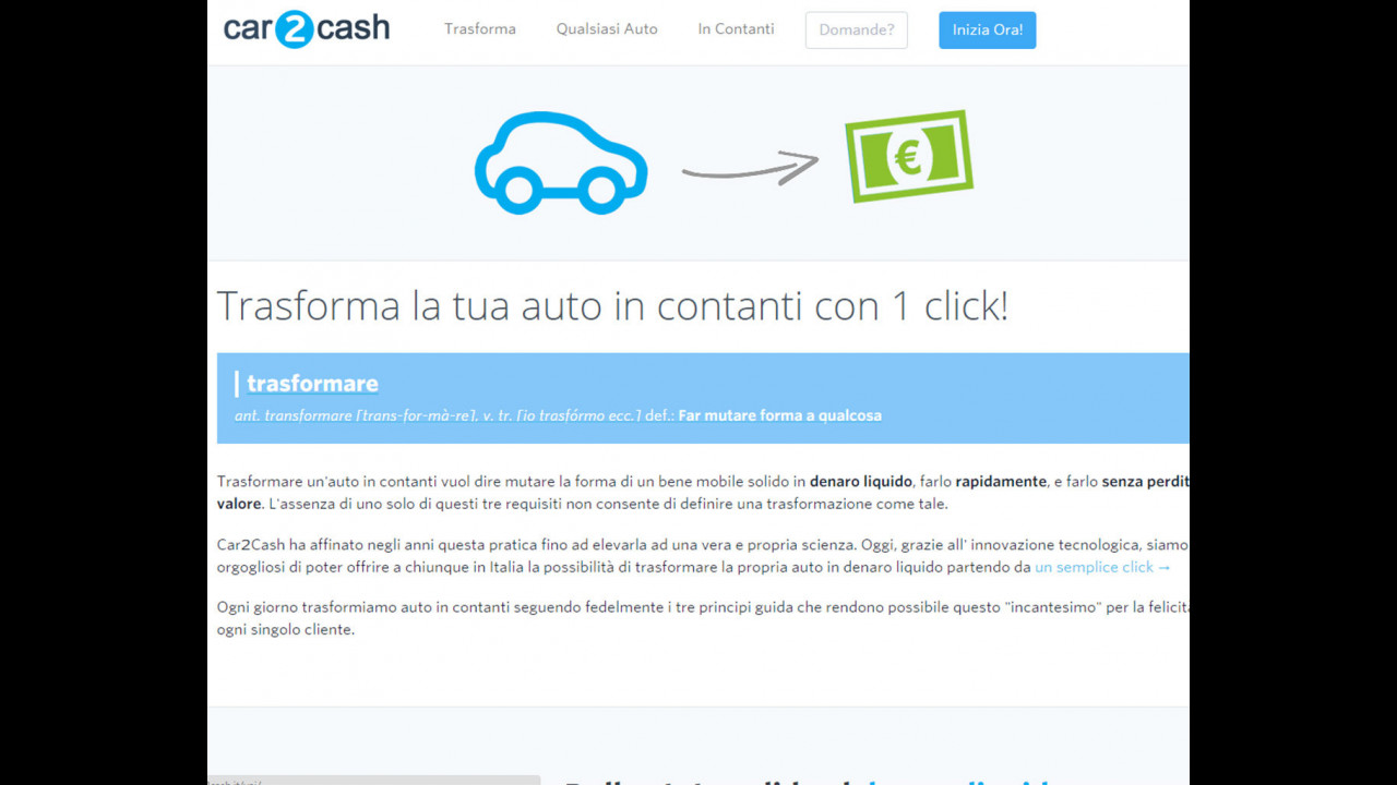 Car2Cash, il sito per vendere l'auto usata