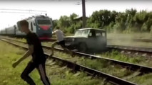 UAZ hit by train in Russia