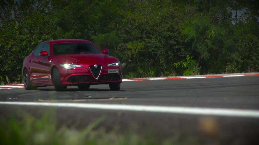Giancarlo Fischella teste l'Alfa Romeo Giulia QV