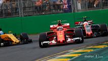 Kimi Raikkonen, Ferrari SF70H, leads Kevin Magnussen, Haas F1 Team VF-17 and Jolyon Palmer, Renault Sport F1 Team RS17