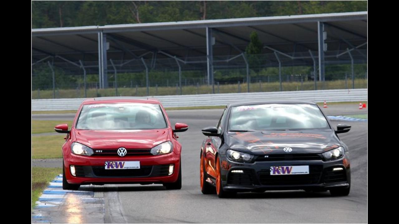 VW Golf GTI und Scirocco R mit KW-DDC-Fahrwerk
