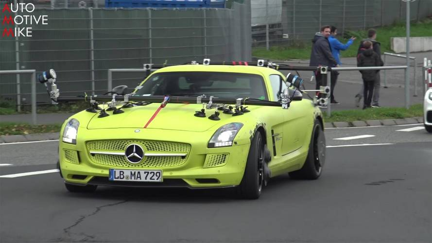 Mysterious Mercedes SLS AMG Electric Drive Spied In Motion
