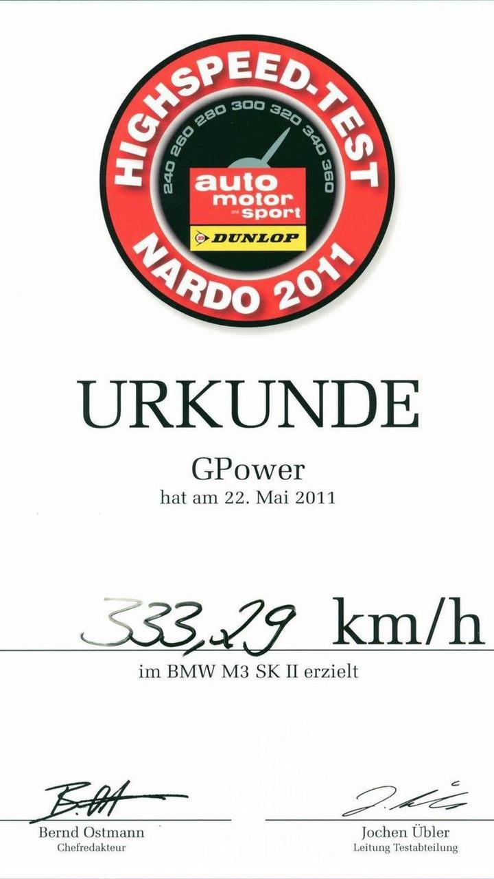 G-POWER M3 SK II reaches 207.10 mph at Nardo 11.07.2011