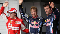 Vettel (GER), Red Bull Racing gets pole position, Fernando Alonso (ESP), Scuderia Ferrari with Mark Webber (AUS), Red Bull Racing - Formula 1 World Championship, Rd 12, Hungarian Grand Prix, Saturday Qualifying