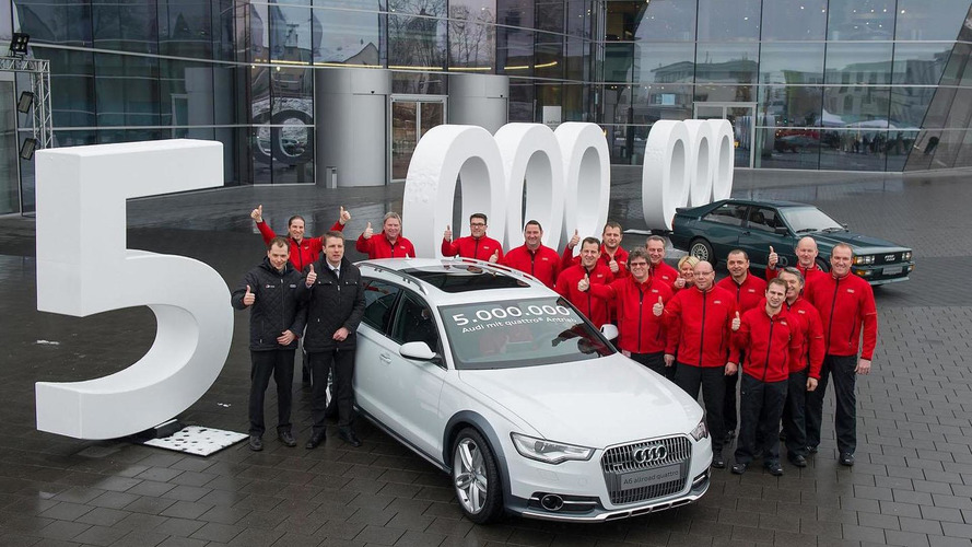 Audi builds its five millionth model with quattro all-wheel drive