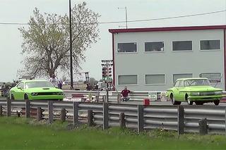 Watch a Hellcat Challenger Drag Race a Mean 1961 Dodge