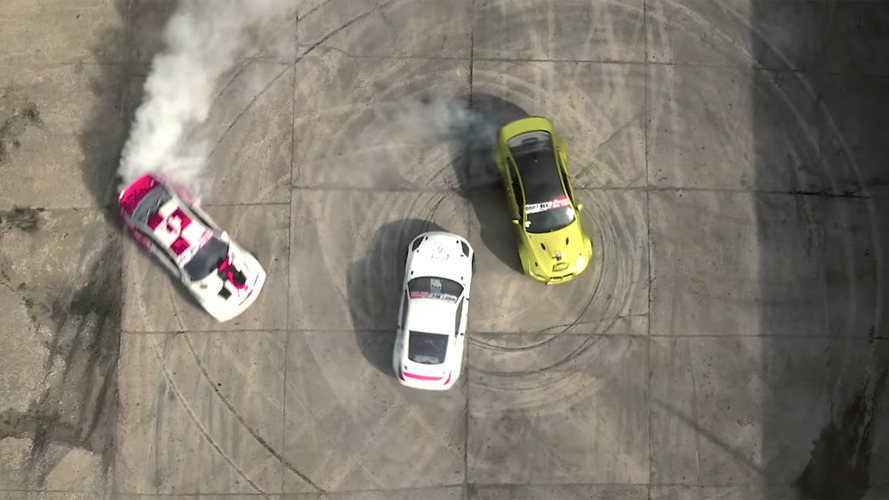Nissan 350z, BMW M3 drifting in a Soviet missile base