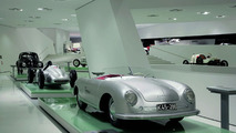 """The exhibition: the Prologue with 356 """"Number 1"""" Roadster, 1948 (in front), Type 360 Cisitalia, 1947 (centre) and VW Beetle, 1950 (behind)"""