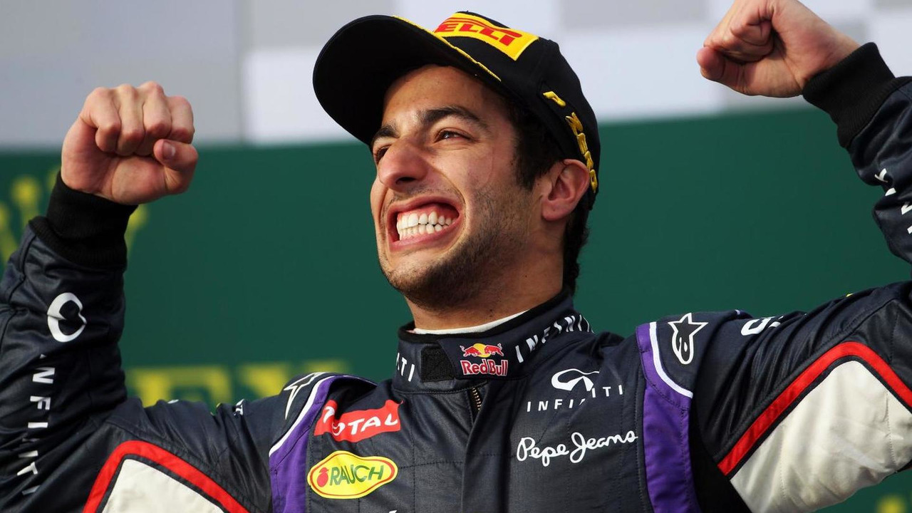 Daniel Ricciardo (AUS), celebrates his second position on the podium, 16.03.2014, Australian Grand Prix, Albert Park, Melbourne / XPB