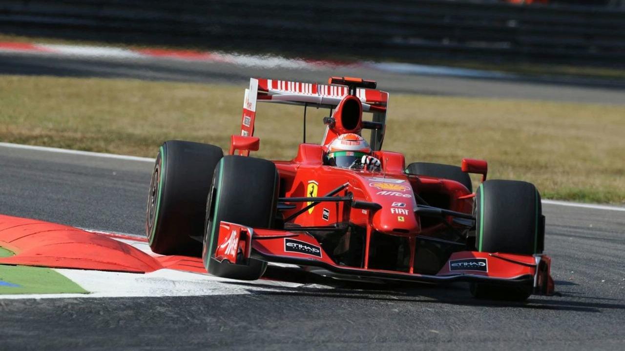 Giancarlo Fisichella riding the Kerb at Monza