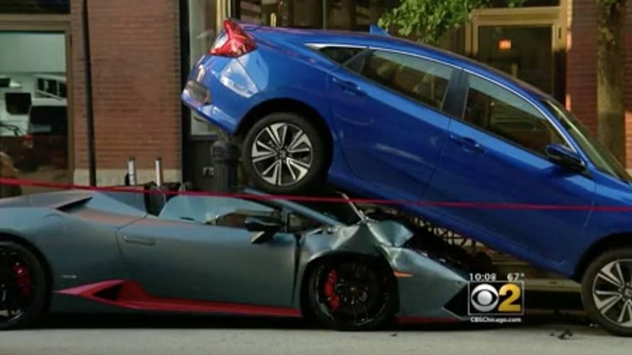 Lamborghini Huracan Spyder Wedges Itself Under Honda Civic