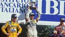 Podium race winner Nelson Piquet, Williams, second place Ayrton Senna, Team Lotus, third place Nigel Mansell, Williams