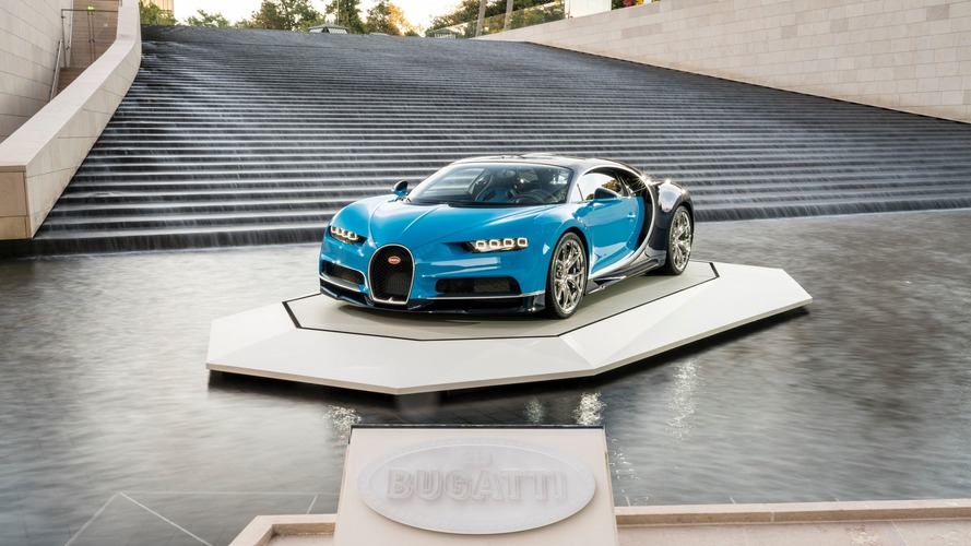 Bugatti Chiron poses at the Foundation Louis Vuitton in Paris