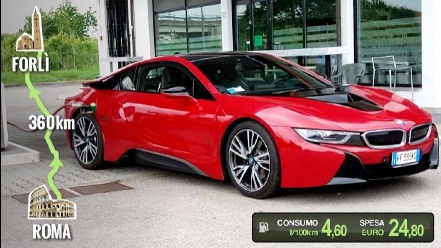 BMW i8, la prova dei consumi reali