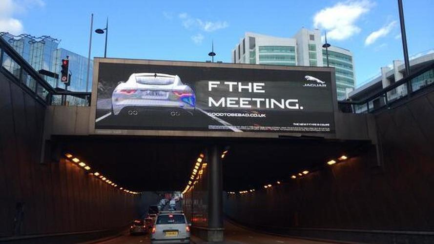 Jaguar billboard tells drivers to 'F THE MEETING'