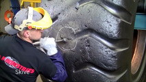 This is how to repair a massive dump truck tire
